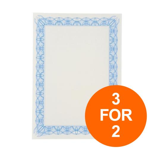 Certificate Papers with Foil Seals 90gsm A4 Blue Reflex [30 Sheets] [3 for 2] Jul-Sept 19