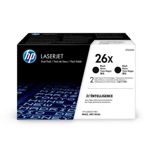 HP 26X Laser Toner Cartridges High Yield Page Life 9000pp Black Ref CF226XD [Pack 2]