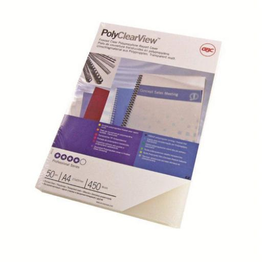 GBC PolyClearView Binding Covers 350 Micron A4 Clear Matte (Pack of 100) IB387166