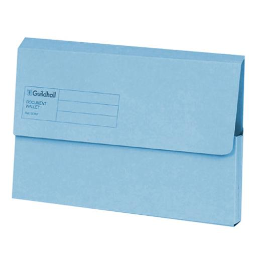 Guildhall Foolscap Blue Document Wallet Pack of 50 GDW1-BLU
