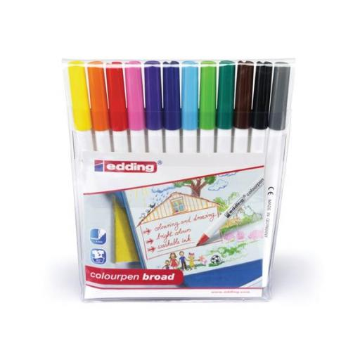 Edding Colouring Pens Broad Line Width 1-2mm Washable (Assorted Colours) Pack of 12