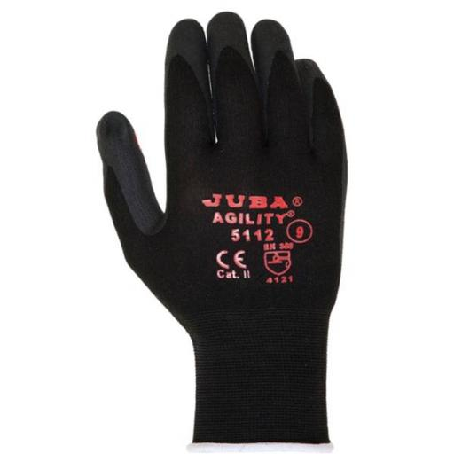 Juba Agility 5112 (Size 8 - Medium) Nitrile Foam Coated Gloves with Agility Dots H/g (Black/Red)
