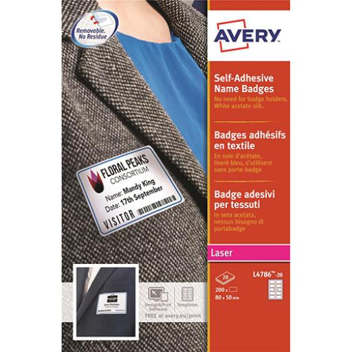 Avery Name Badge Labels Laser Self-adhesive 80x50mm Red Border Ref L4786-20 [200 Labels]