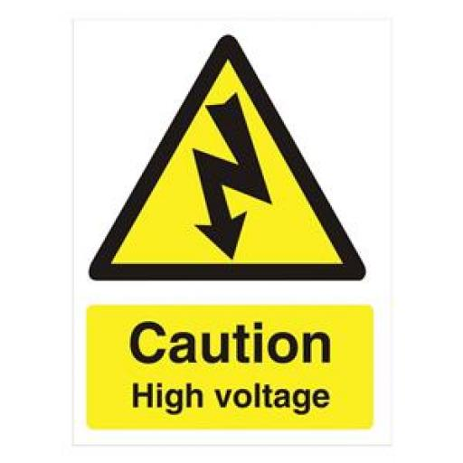 Stewart Superior WO137PVC Self-Adhesive Rigid PVC Sign (150x200mm) - Caution High Voltage