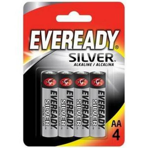 Eveready Silver AA Alkaline Battery Pack (Silver) Pack of 4 637329