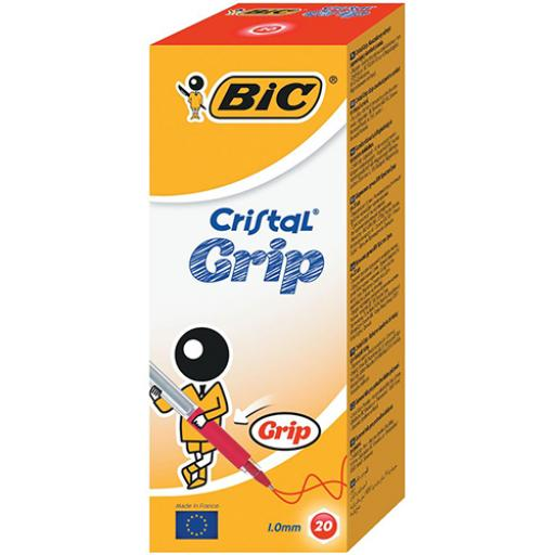 Bic Cristal Grip Ball Pen Medium Clear Barrel 1.0mm Tip 0.32mm Line Red Ref 802803 [Pack 20]