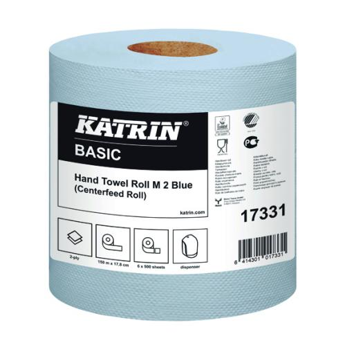 Katrin White Centrefeed 2 Ply Hand Towel Blue (Pack of 6) 17331