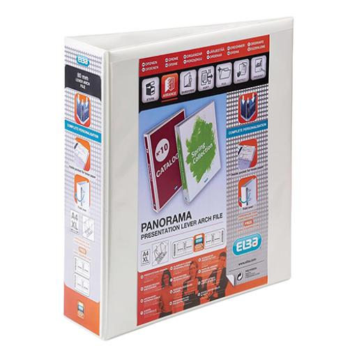 Elba Panorama Presentation Lever Arch File PP 2 D-Ring 70mm Capacity A4 White Ref 400008436 [Pack 5]