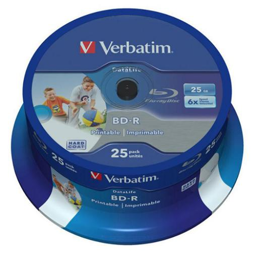 Verbatim BD-R Recordable Blu-Ray Discs Inkjet Printable 25GB Ref 43811 [Pack 25]