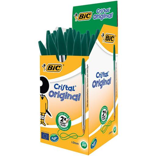 Bic Cristal Ball Pen Clear Barrel 1.0mm Tip 0.32mm Line Green Ref 8373629 [Pack 50]