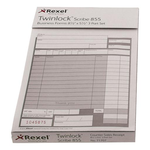 Twinlock Scribe 855 Counter Sales Receipt Business Form 3-Part 220x140mm Ref 71707 [Pack 75]