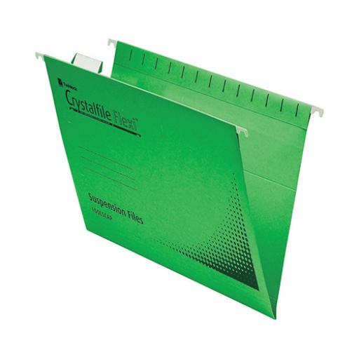 Rexel Crystalfile Flexifile Suspension File 15mm V-base 225gsm Foolscap Green Ref 3000040 [Pack 50]