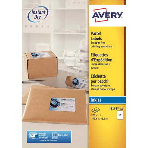 Avery QuickDRY Parcel Labels Inkjet 2 per Sheet 199.6x143.5mm White Ref J8168-100 [200 Labels]
