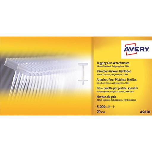 Avery Tagging Gun Attachments Polypropylene with Paddles 20mm Ref AS020 [Pack 5000]