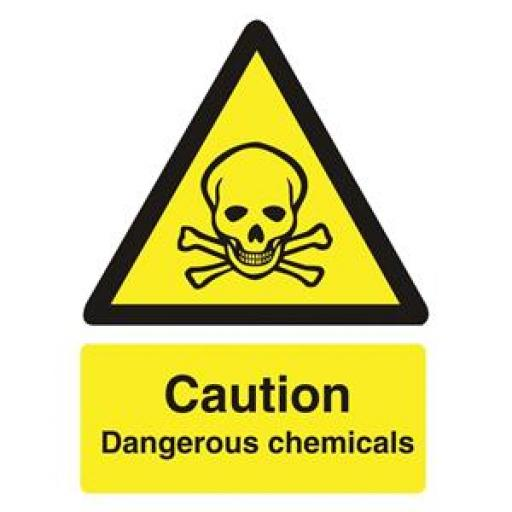 Stewart Superior WO142SAV Self-Adhesive Vinyl Sign (150x200mm) - Caution Dangerous Chemicals