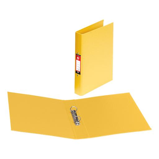 5 Star Office Ring Binder 2 O-Ring Size 25mm Polypropylene A4 Yellow [Pack 10]