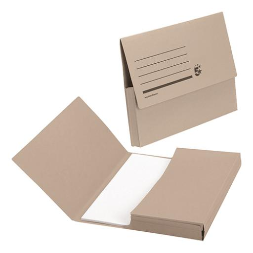 5 Star Office Document Wallet Half Flap 285gsm Recycled Capacity 32mm A4 Buff [Pack 50]