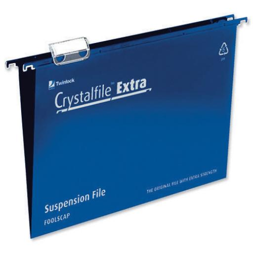 Rexel Crystalfile Extra Suspension File Polypropylene 15mm V-base Foolscap Blue Ref 70630 [Pack 25]