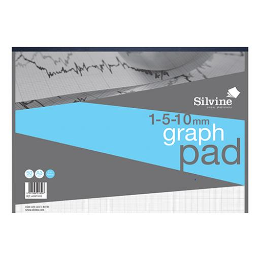Silvine Student Graph Pad 90gsm 1mm 5mm 10mm Grid 30 Sheets A3 Ref A3GP1510 [COMPETITION]