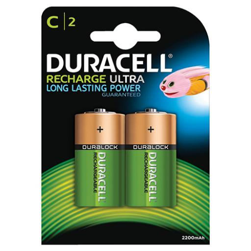 Duracell Battery Rechargeable Accu NiMH 2200mAh Size C Ref 81364720 [Pack 2]