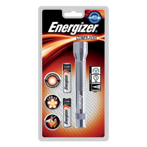 Energizer Metal LED Torch 2xAA Batteries FL1 Ref 634041 *2017 Mailer*