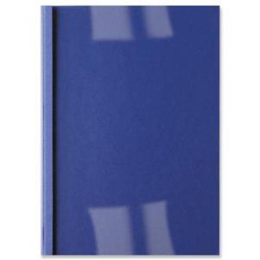 GBC (A4) Thermal Binding Covers 4mm Front PVC Clear Back Leathergrain (Royal Blue) - 1 x Pack of 100 Binding Covers
