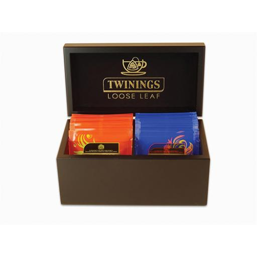 Twinings Wooden Tea Box Deluxe 2 Compartments Black Ref F13178