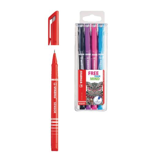 STABILO SENSOR Fineliner Red (Pack of 10) FOC Pk4 Assorted SS811645