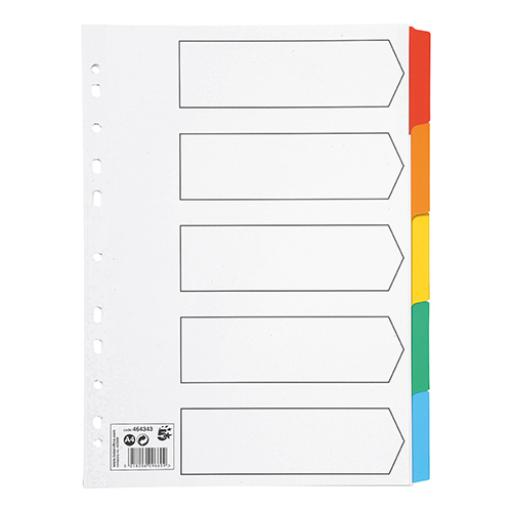 5 Star Office Subject Dividers 5-Part Multipunched Mylar-reinforced Multicolour-Tabs 150gsm A4 White