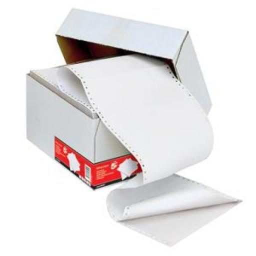 5 Star Office Listing Paper 2-Part Carbonless 55/55gsm 11inchx368mm Ruled White/White [1000 Sheets]