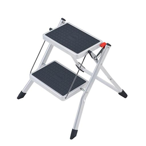 5 Star Facilities Mini Stool/Ladder Two Step Steel Folding Single Sided Load Capacity 150kg White
