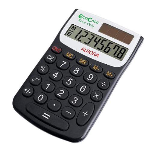 Aurora EcoCalc Handheld Calculator 8 Digit 4 Key Memory Solar Power Recycled 62x9x102mm Black Ref EC101
