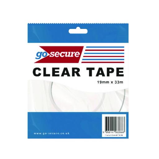 Go Secure Small Tape 19mmx33m (Pack of 12) PB02298