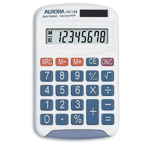 Aurora Handheld Calculator 8 Digit 3 Key Memory Solar and Battery Power 70x15x115mm White Ref HC133