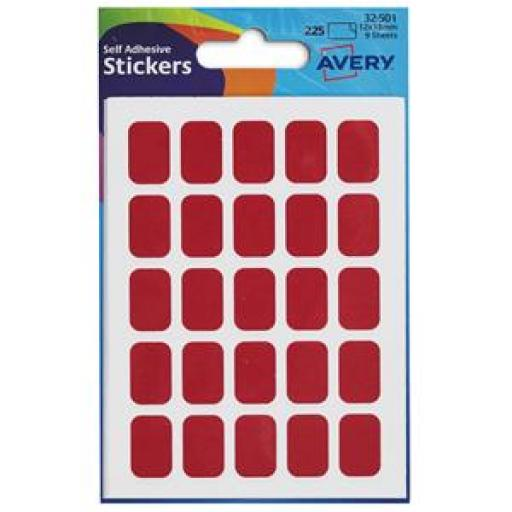 Avery (12x18mm) Self Adhesive Rectangular Labels (Red) Pack of 225 Labels
