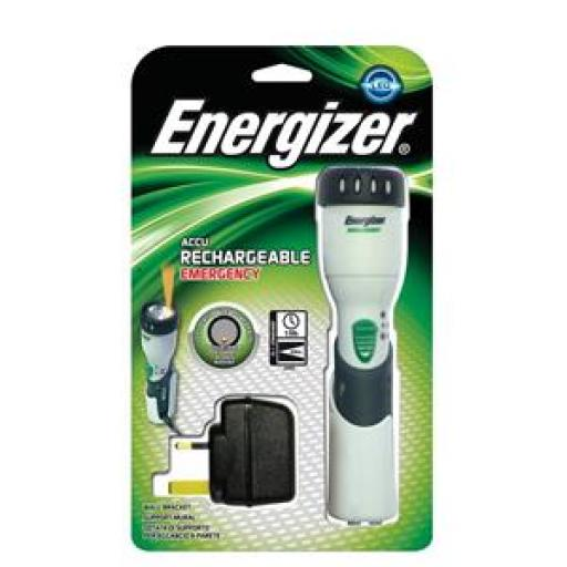 Energizer Emergency Rechargeable Torch Krypton Bulb Shatterproof Lens 19 Hour 2 x AA 1 UK Plug