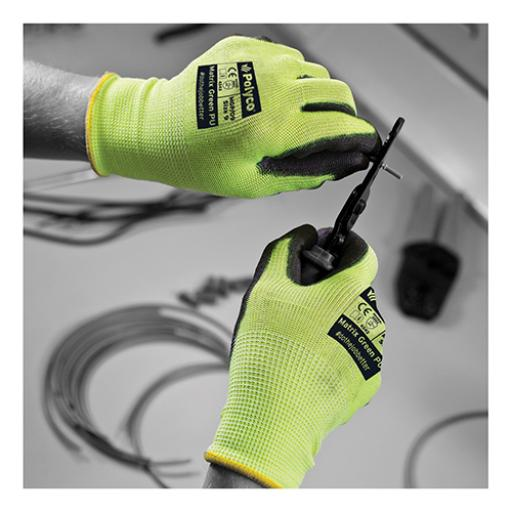 KeepSafe Size 8 PU Coated Pair of Safety Gloves (Green/Black) Ref 303620080