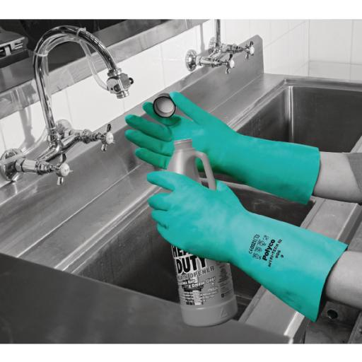 Polyco Nitri-Tech III Flock Lined Nitrile Synthetic Rubber Glove Size 9 Green 926