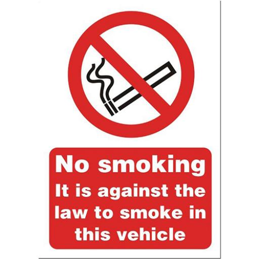 Stewart Superior No Smoking in Vehicle Sign A5 Self-adhesive Vinyl Ref SB014SAV